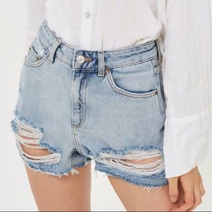 Topshop High Waisted Rip Denim Mom Shorts 4